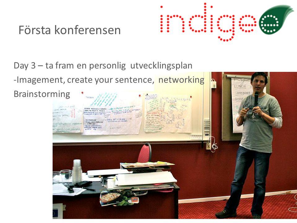 Day 3 – ta fram en personlig utvecklingsplan -Imagement, create your sentence, networking Brainstorming Första konferensen