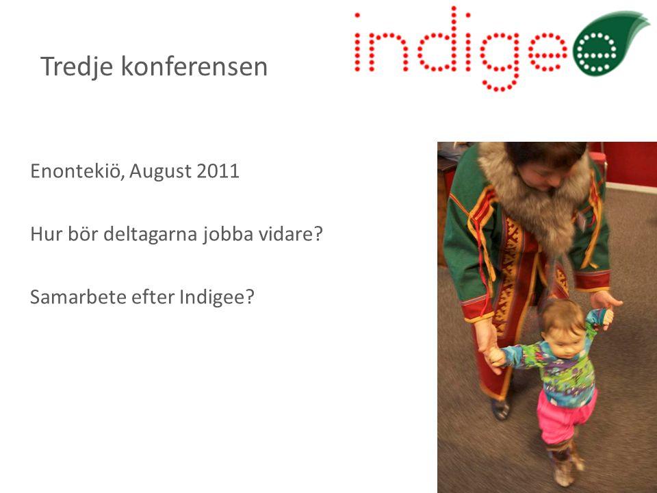 Enontekiö, August 2011 Hur bör deltagarna jobba vidare? Samarbete efter Indigee? Tredje konferensen