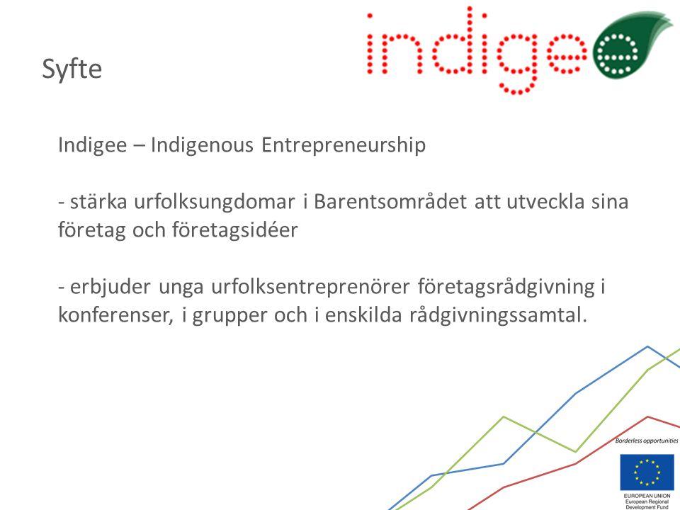 Indigee – Indigenous Entrepreneurship - stärka urfolksungdomar i Barentsområdet att utveckla sina företag och företagsidéer - erbjuder unga urfolksentreprenörer företagsrådgivning i konferenser, i grupper och i enskilda rådgivningssamtal.