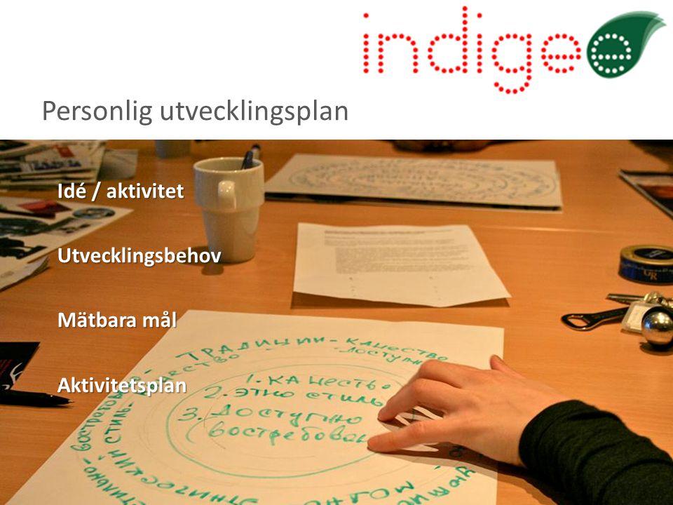 Idé / aktivitet Utvecklingsbehov Mätbara mål Aktivitetsplan Personlig utvecklingsplan