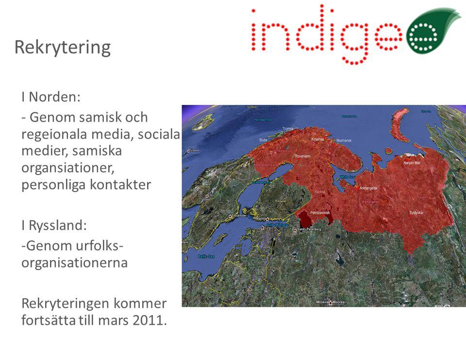 Rekrytering I Norden: - Genom samisk och regeionala media, sociala medier, samiska organsiationer, personliga kontakter I Ryssland: -Genom urfolks- organisationerna Rekryteringen kommer fortsätta till mars 2011.