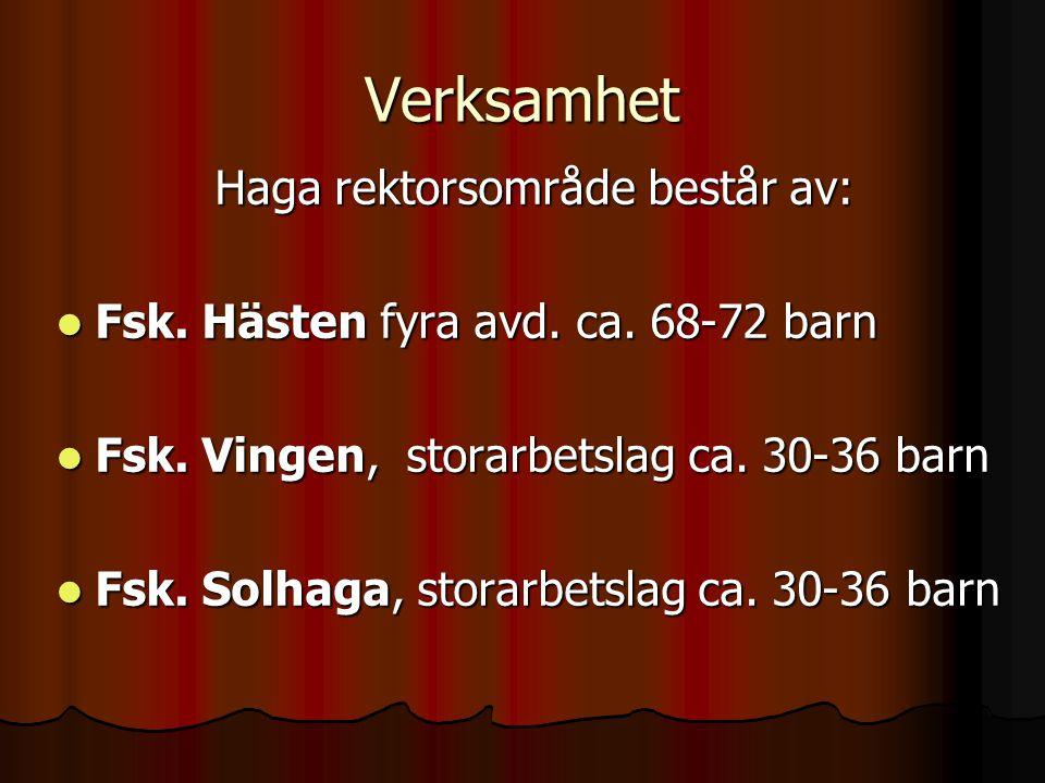  Hagaskolan, en förskoleklass med 28 barn uppdelade i två grupper  Hagaskolan, med årskurserna 1, 2, 3, 4, 5 Nord och 5 Syd ca.
