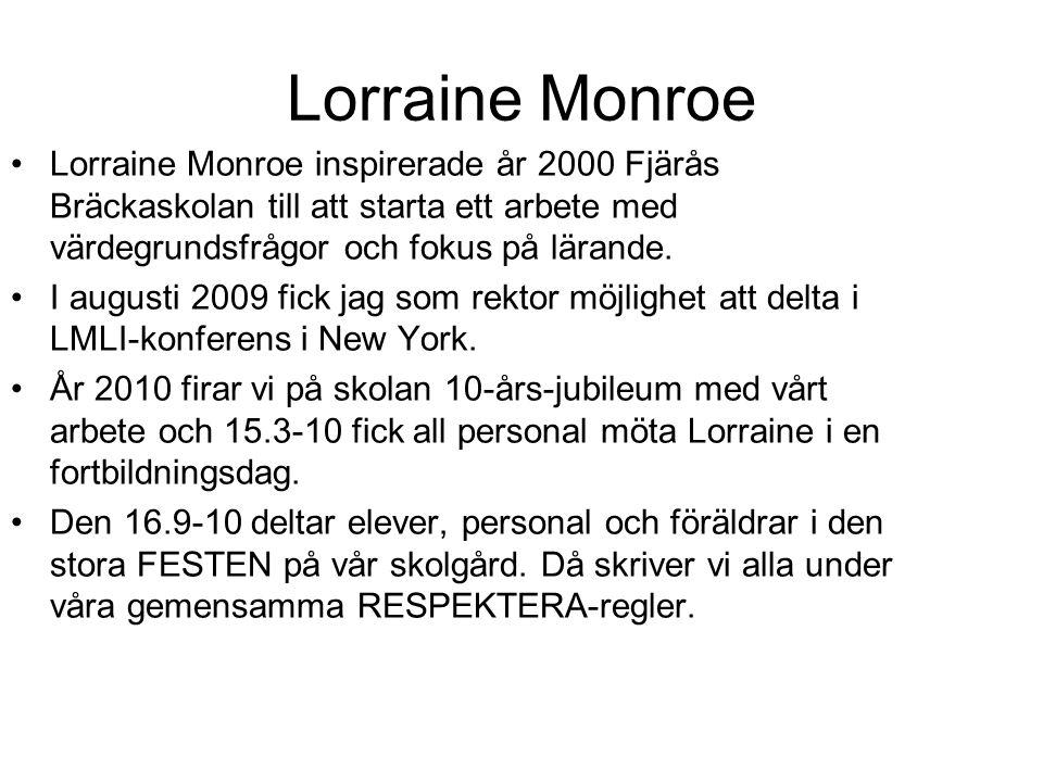 Lorraine Monroe •Lorraine Monroe inspirerade år 2000 Fjärås Bräckaskolan till att starta ett arbete med värdegrundsfrågor och fokus på lärande. •I aug