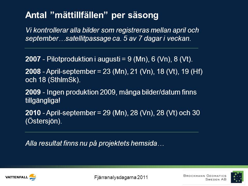 """Fjärranalysdagarna 2011 Antal """"mättillfällen"""" per säsong Vi kontrollerar alla bilder som registreras mellan april och september…satellitpassage ca. 5"""