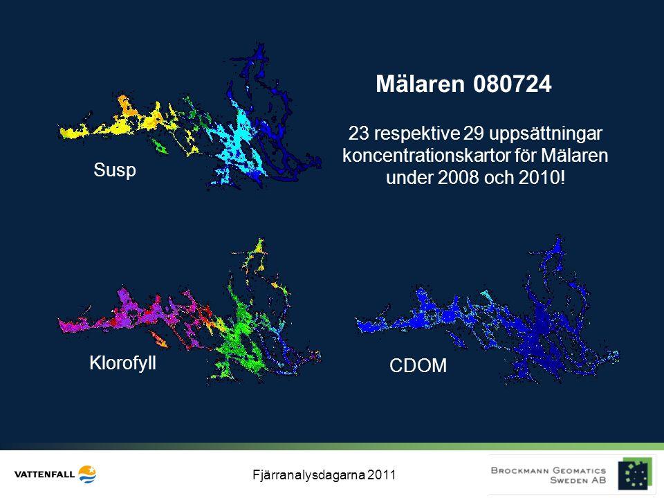 Fjärranalysdagarna 2011 Mälaren 080724 Klorofyll Susp CDOM 23 respektive 29 uppsättningar koncentrationskartor för Mälaren under 2008 och 2010!