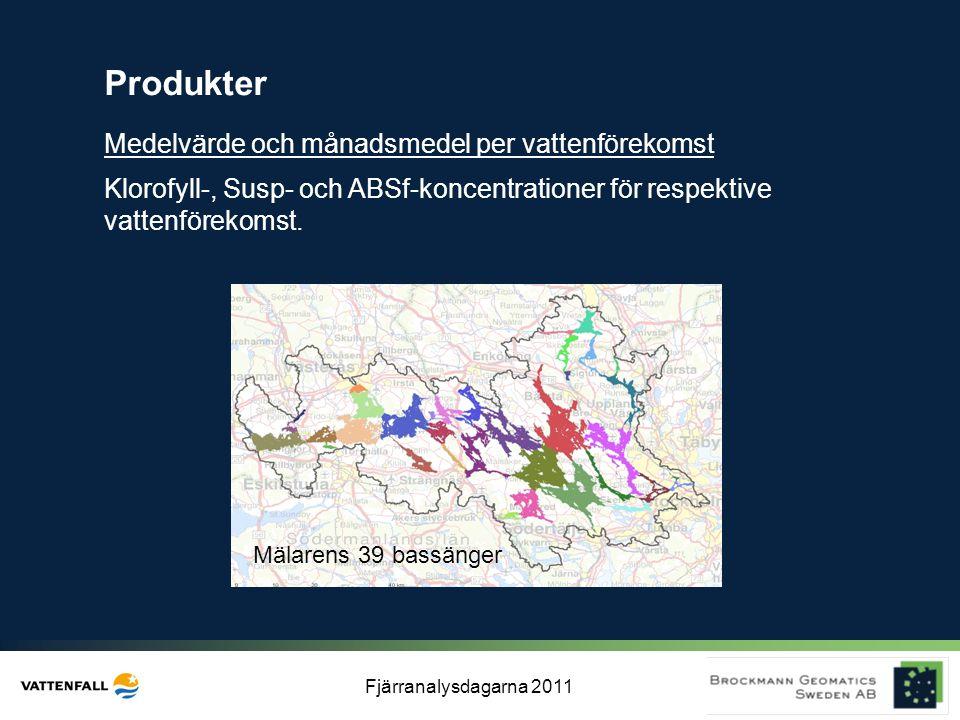 Fjärranalysdagarna 2011 Mälarens 39 bassänger Produkter Klorofyll-, Susp- och ABSf-koncentrationer för respektive vattenförekomst. Medelvärde och måna