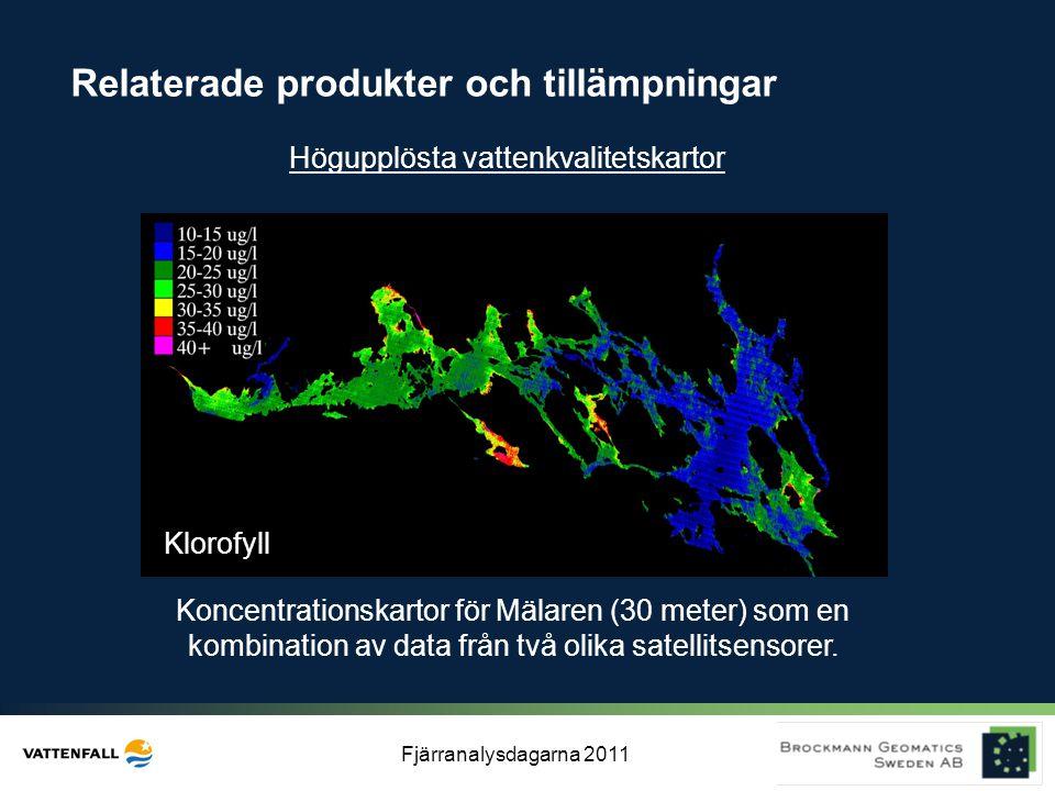 Fjärranalysdagarna 2011 Koncentrationskartor för Mälaren (30 meter) som en kombination av data från två olika satellitsensorer. Klorofyll Relaterade p