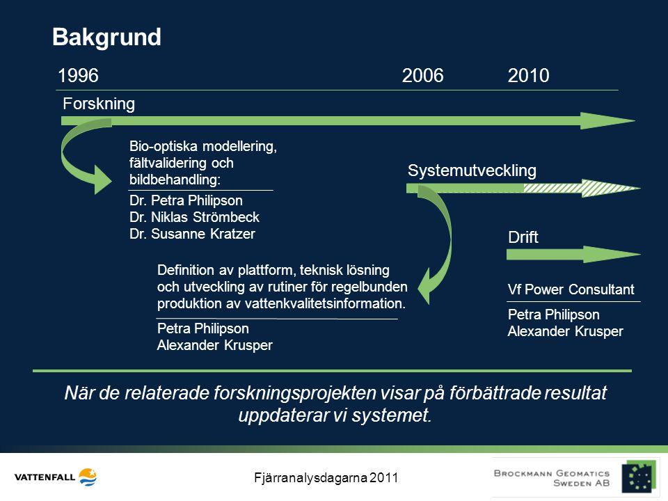 Fjärranalysdagarna 2011 Bakgrund 199620062010 Forskning Systemutveckling Drift När de relaterade forskningsprojekten visar på förbättrade resultat upp