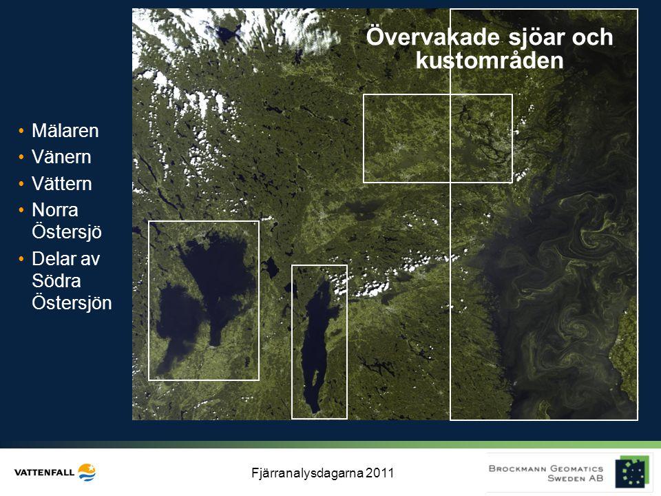 Fjärranalysdagarna 2011 Övervakade sjöar och kustområden •Mälaren •Vänern •Vättern •Norra Östersjö •Delar av Södra Östersjön