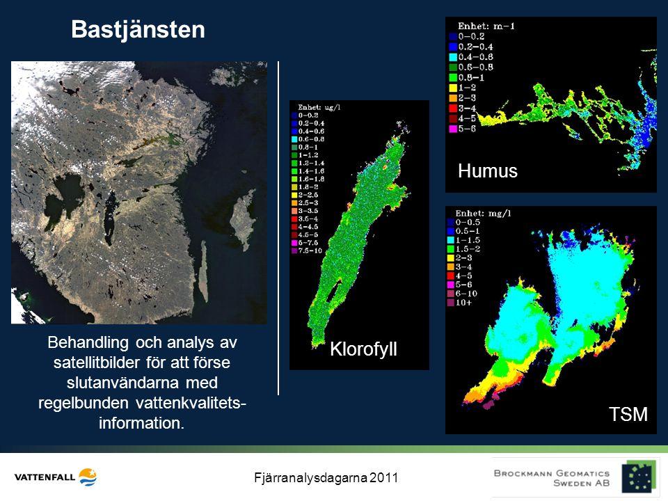Fjärranalysdagarna 2011 Bastjänsten Behandling och analys av satellitbilder för att förse slutanvändarna med regelbunden vattenkvalitets- information.