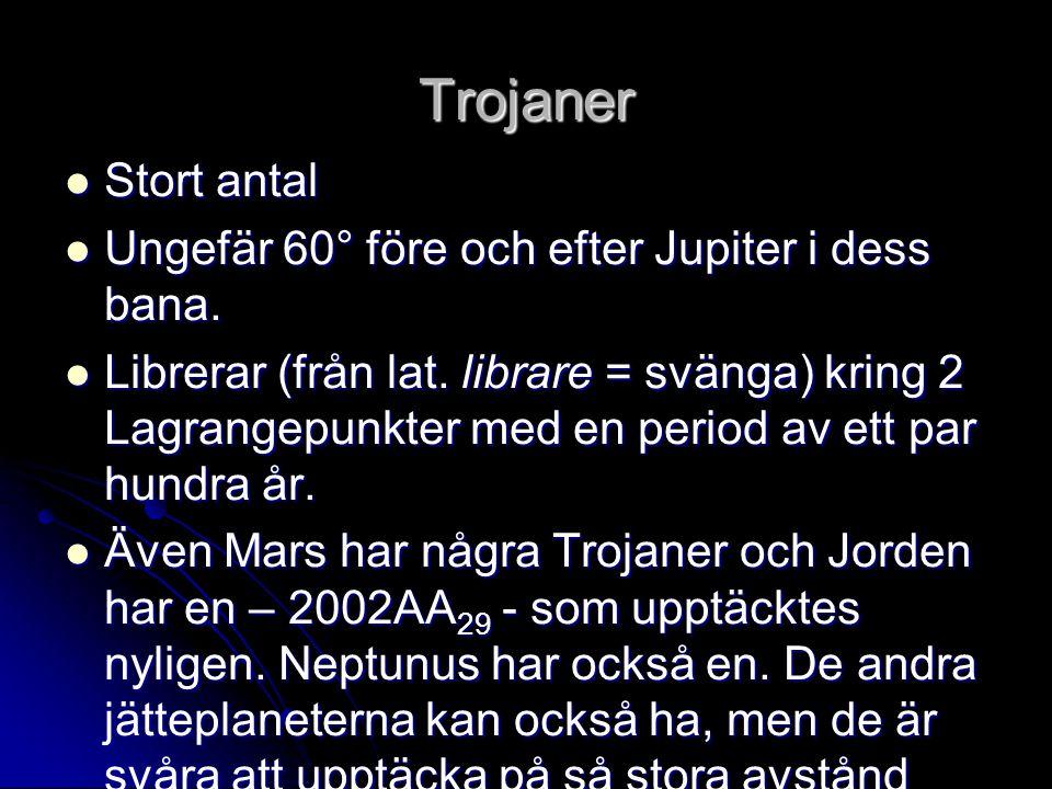 Trojaner  Stort antal  Ungefär 60° före och efter Jupiter i dess bana.  Librerar (från lat. librare = svänga) kring 2 Lagrangepunkter med en period