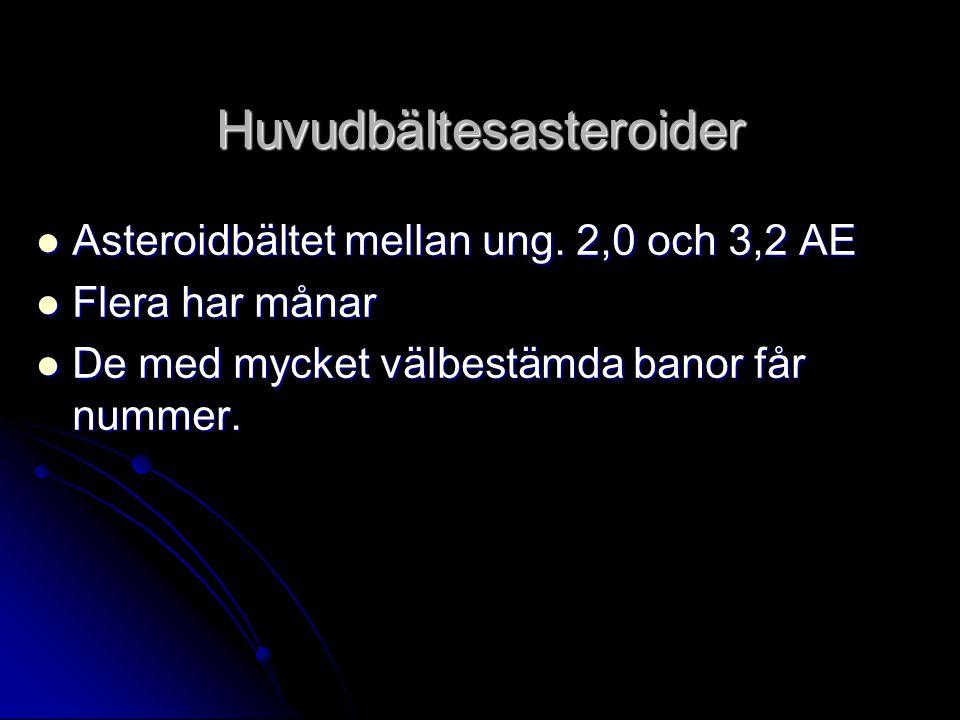 Huvudbältesasteroider  Asteroidbältet mellan ung. 2,0 och 3,2 AE  Flera har månar  De med mycket välbestämda banor får nummer.