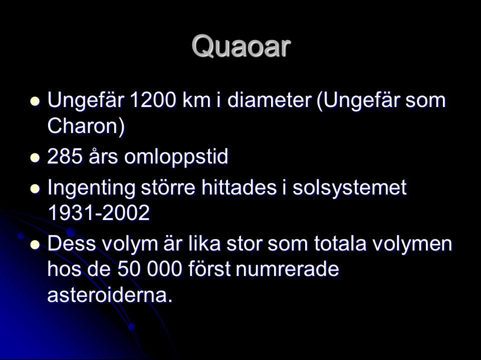 Quaoar  Ungefär 1200 km i diameter (Ungefär som Charon)  285 års omloppstid  Ingenting större hittades i solsystemet 1931-2002  Dess volym är lika