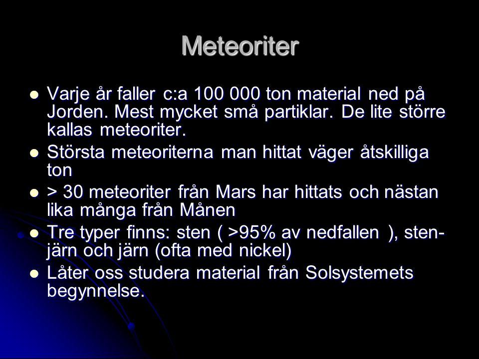 Meteoriter  Varje år faller c:a 100 000 ton material ned på Jorden. Mest mycket små partiklar. De lite större kallas meteoriter.  Största meteoriter