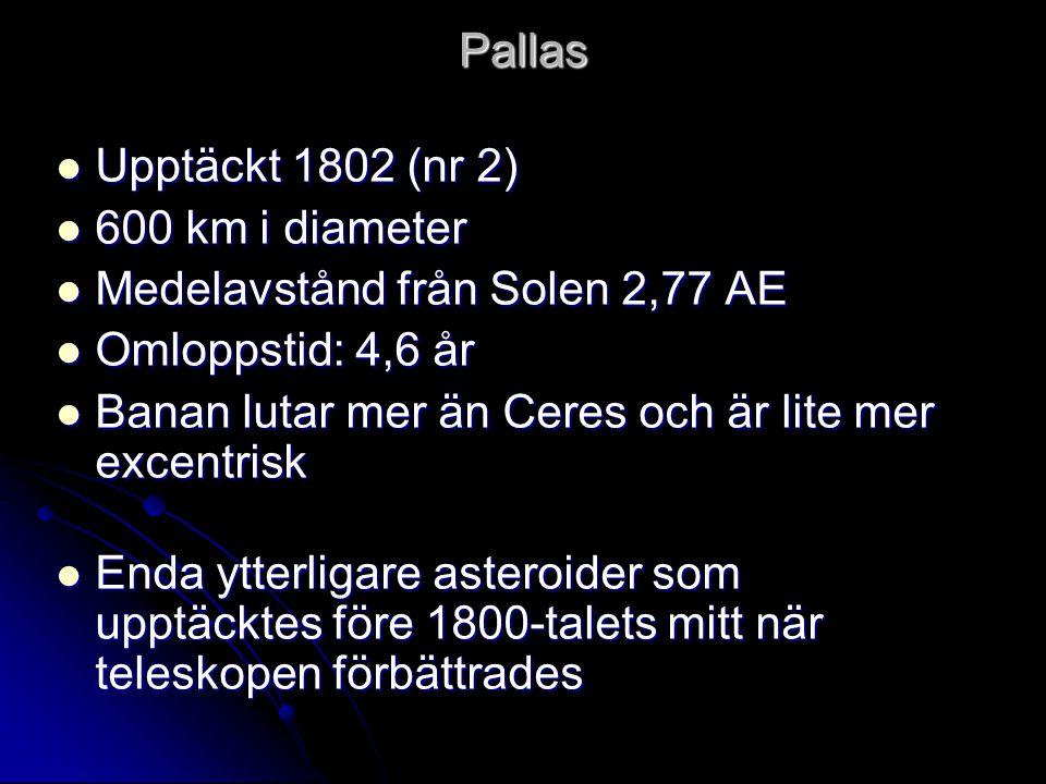 Pallas  Upptäckt 1802 (nr 2)  600 km i diameter  Medelavstånd från Solen 2,77 AE  Omloppstid: 4,6 år  Banan lutar mer än Ceres och är lite mer ex