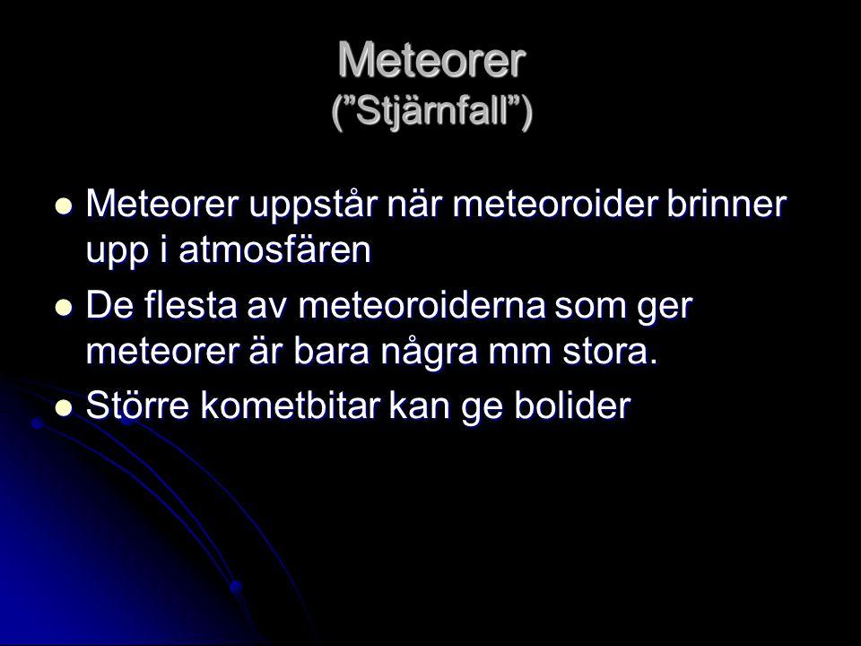 """Meteorer (""""Stjärnfall"""")  Meteorer uppstår när meteoroider brinner upp i atmosfären  De flesta av meteoroiderna som ger meteorer är bara några mm sto"""