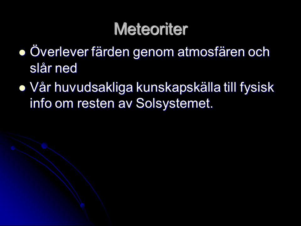 Meteoriter  Överlever färden genom atmosfären och slår ned  Vår huvudsakliga kunskapskälla till fysisk info om resten av Solsystemet.