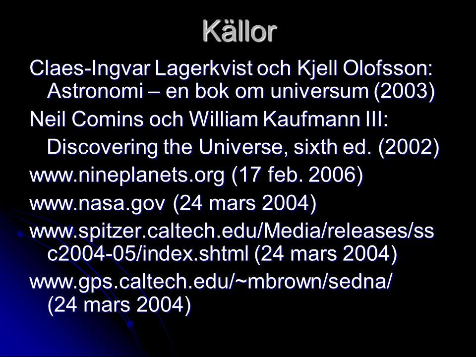 Källor Claes-Ingvar Lagerkvist och Kjell Olofsson: Astronomi – en bok om universum (2003) Neil Comins och William Kaufmann III: Discovering the Univer