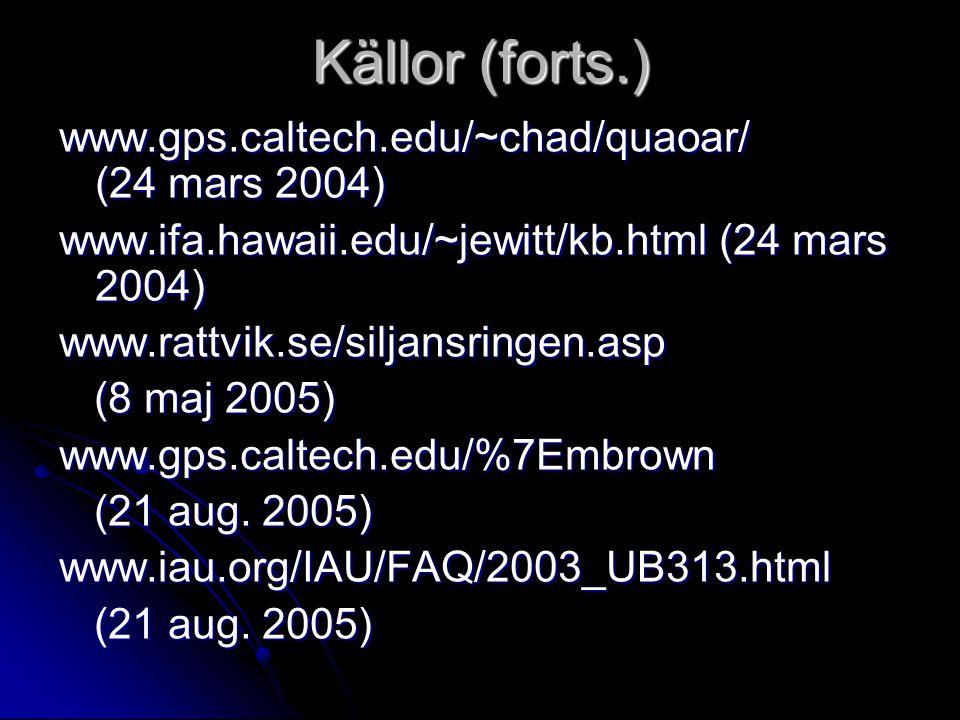 Källor (forts.) www.gps.caltech.edu/~chad/quaoar/ (24 mars 2004) www.ifa.hawaii.edu/~jewitt/kb.html (24 mars 2004) www.rattvik.se/siljansringen.asp (8