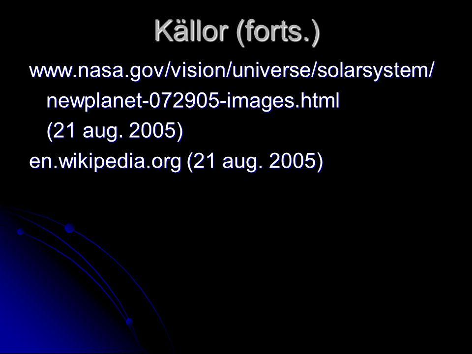 Källor (forts.) www.nasa.gov/vision/universe/solarsystem/ newplanet-072905-images.html newplanet-072905-images.html (21 aug. 2005) (21 aug. 2005) en.w