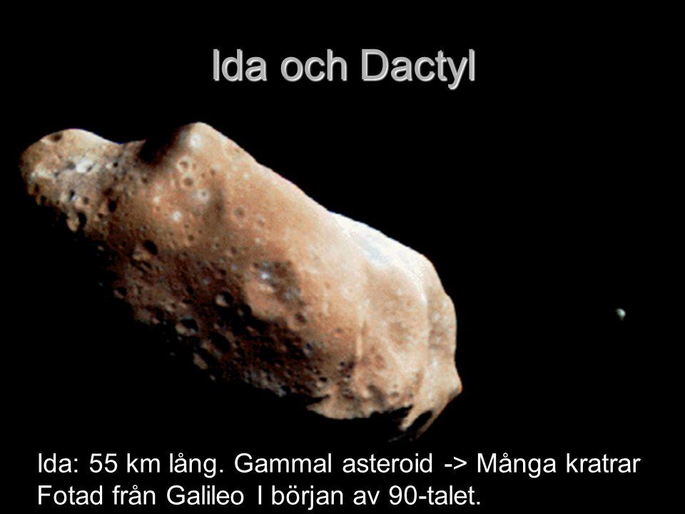 Ida och Dactyl Ida: 55 km lång. Gammal asteroid -> Många kratrar Fotad från Galileo I början av 90-talet.