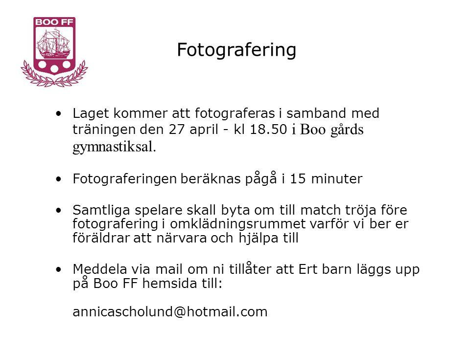 Fotografering •Laget kommer att fotograferas i samband med träningen den 27 april - kl 18.50 i Boo gårds gymnastiksal.