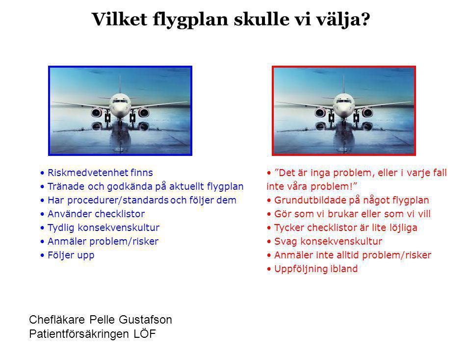 Vilket flygplan skulle vi välja? • Riskmedvetenhet finns • Tränade och godkända på aktuellt flygplan • Har procedurer/standards och följer dem • Använ
