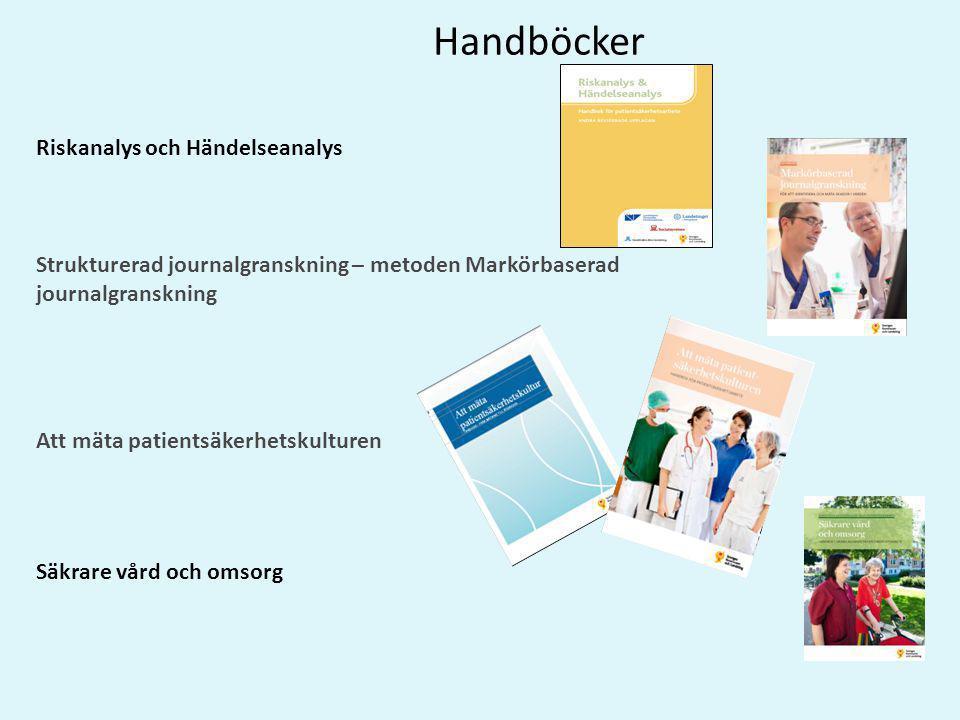 Handböcker Riskanalys och Händelseanalys Strukturerad journalgranskning – metoden Markörbaserad journalgranskning Att mäta patientsäkerhetskulturen Sä