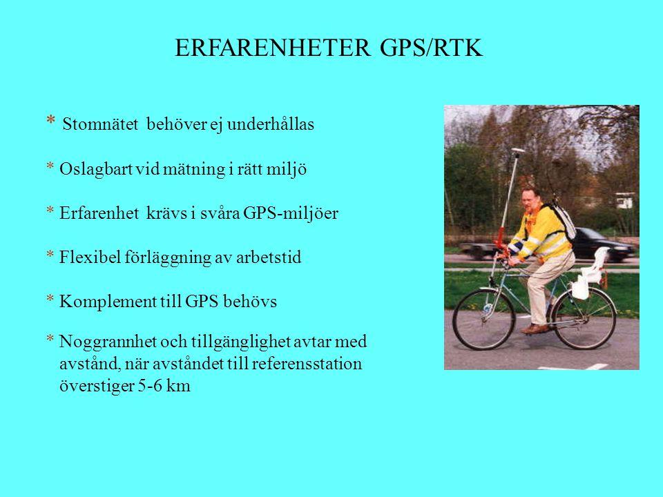 ERFARENHETER GPS/RTK * Stomnätet behöver ej underhållas * Oslagbart vid mätning i rätt miljö * Erfarenhet krävs i svåra GPS-miljöer * Flexibel förlägg