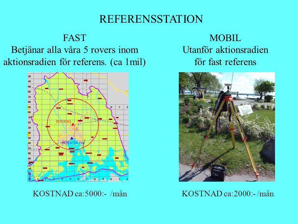 REFERENSSTATION FAST Betjänar alla våra 5 rovers inom aktionsradien för referens. (ca 1mil) MOBIL Utanför aktionsradien för fast referens KOSTNAD ca:5