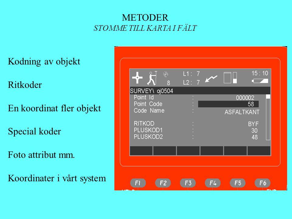 METODER STOMME TILL KARTA I FÄLT Kodning av objekt Ritkoder En koordinat fler objekt Special koder Foto attribut mm. Koordinater i vårt system
