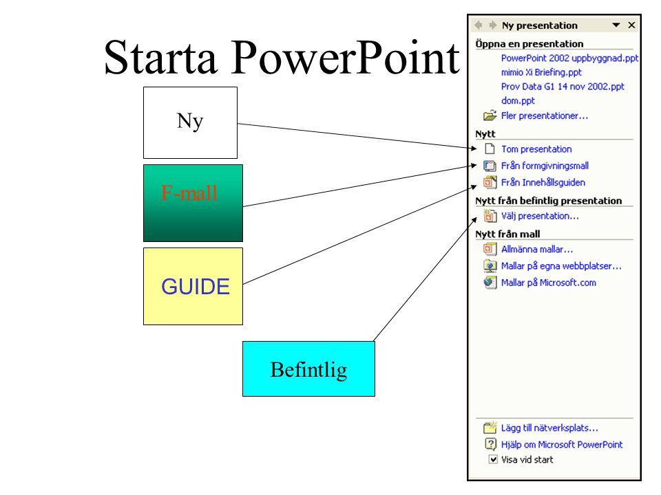 Starta PowerPoint Befintlig GUIDE F-mall Ny
