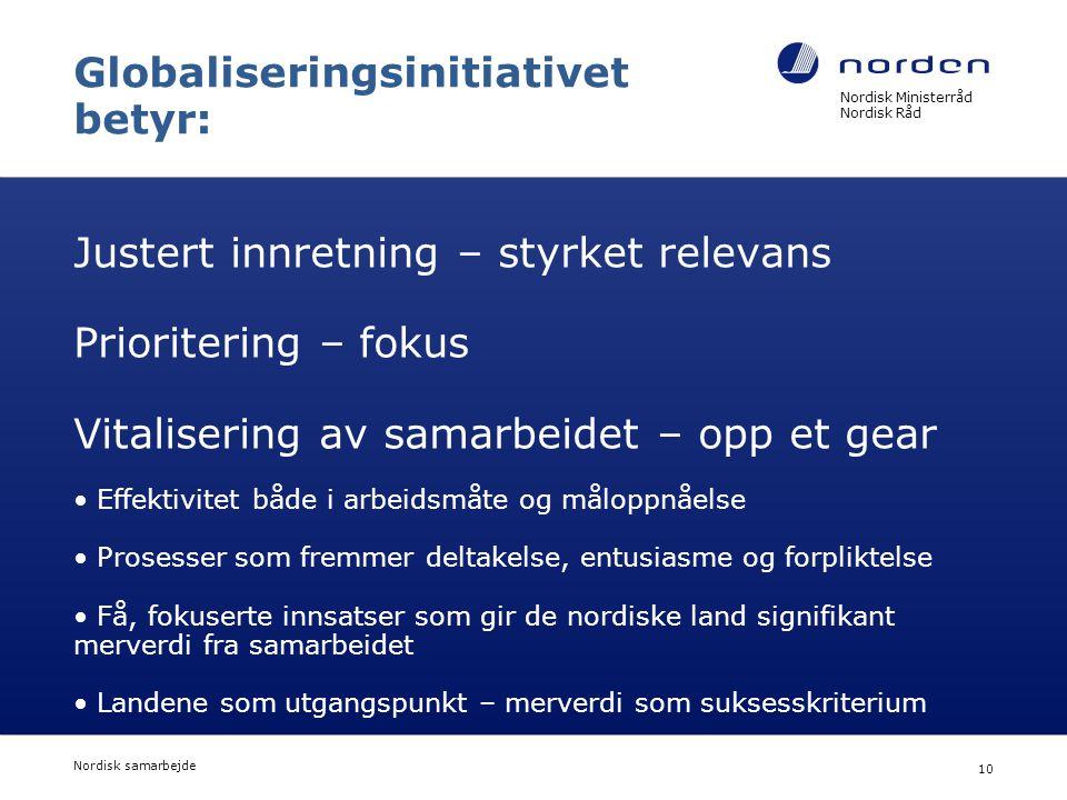 Nordisk Ministerråd Nordisk Råd Nordisk samarbejde 10 Globaliseringsinitiativet betyr: Justert innretning – styrket relevans Prioritering – fokus Vita