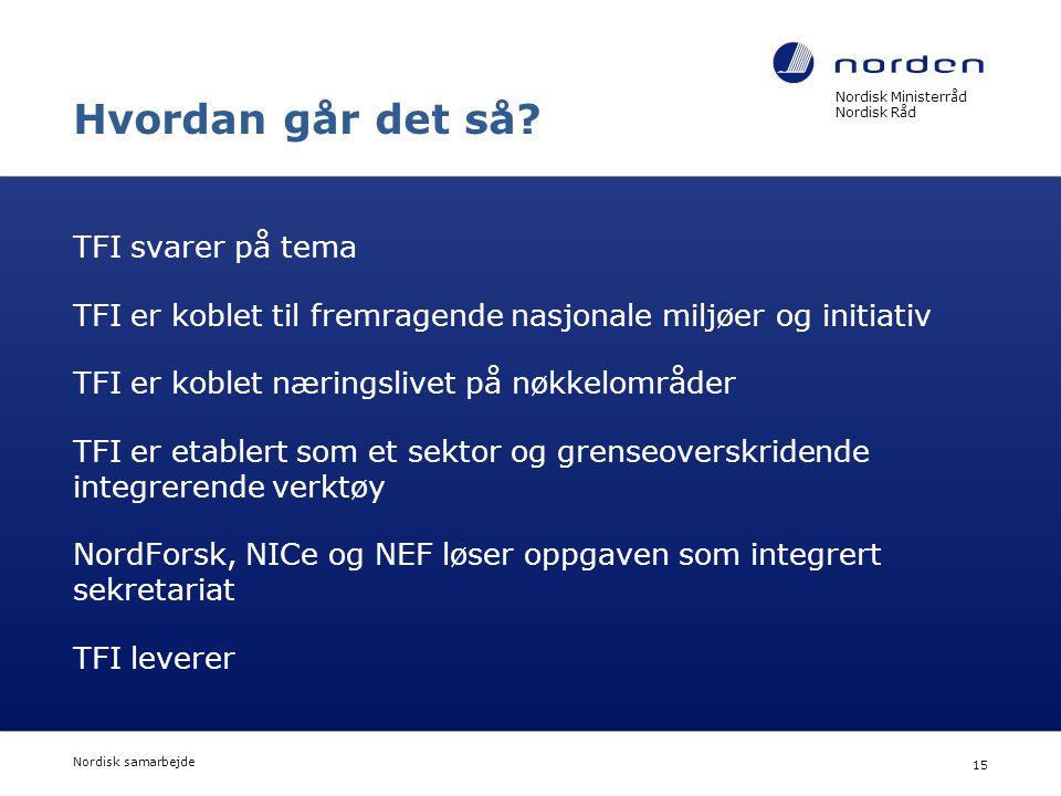 Nordisk Ministerråd Nordisk Råd Nordisk samarbejde 15 Hvordan går det så? TFI svarer på tema TFI er koblet til fremragende nasjonale miljøer og initia