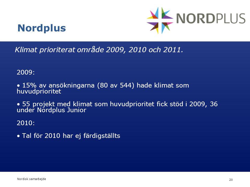 Nordisk Ministerråd Nordisk Råd Nordisk samarbejde 20 Nordplus 2009: • 15% av ansökningarna (80 av 544) hade klimat som huvudprioritet • 55 projekt me