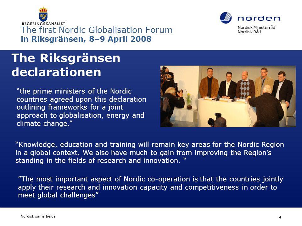 Nordisk Ministerråd Nordisk Råd Nordisk samarbejde 15 Hvordan går det så.