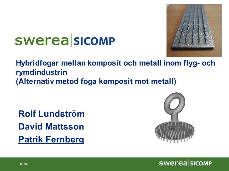 12/6/07 1/3/08 Hybridfogar mellan komposit och metall inom flyg- och rymdindustrin (Alternativ metod foga komposit mot metall) Rolf Lundström David Ma