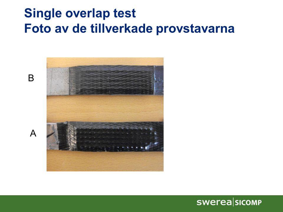 Single overlap test Foto av de tillverkade provstavarna A B
