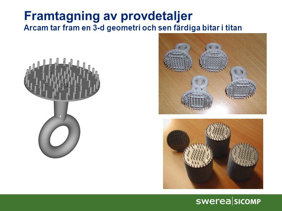 Framtagning av provdetaljer Arcam tar fram en 3-d geometri och sen färdiga bitar i titan