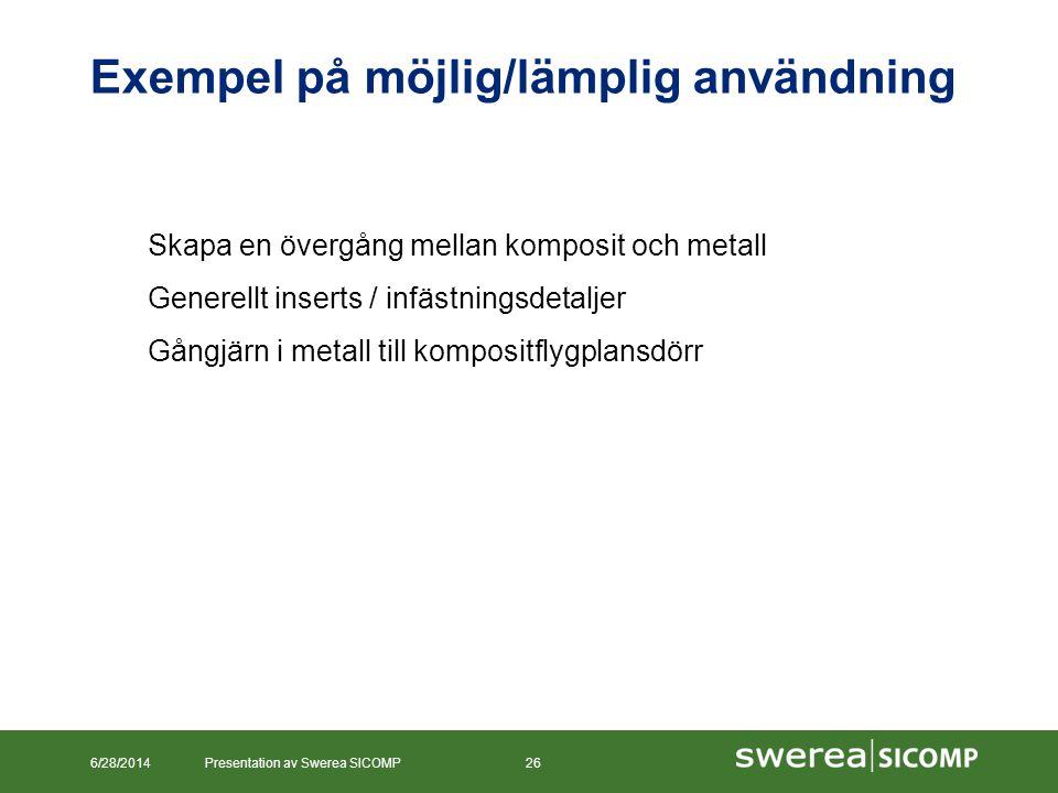 Exempel på möjlig/lämplig användning 6/28/2014Presentation av Swerea SICOMP26 Skapa en övergång mellan komposit och metall Generellt inserts / infästn