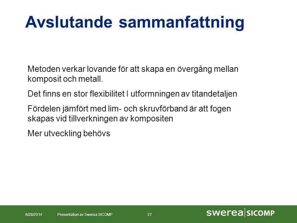 Avslutande sammanfattning 6/28/2014Presentation av Swerea SICOMP27 Metoden verkar lovande för att skapa en övergång mellan komposit och metall. Det fi