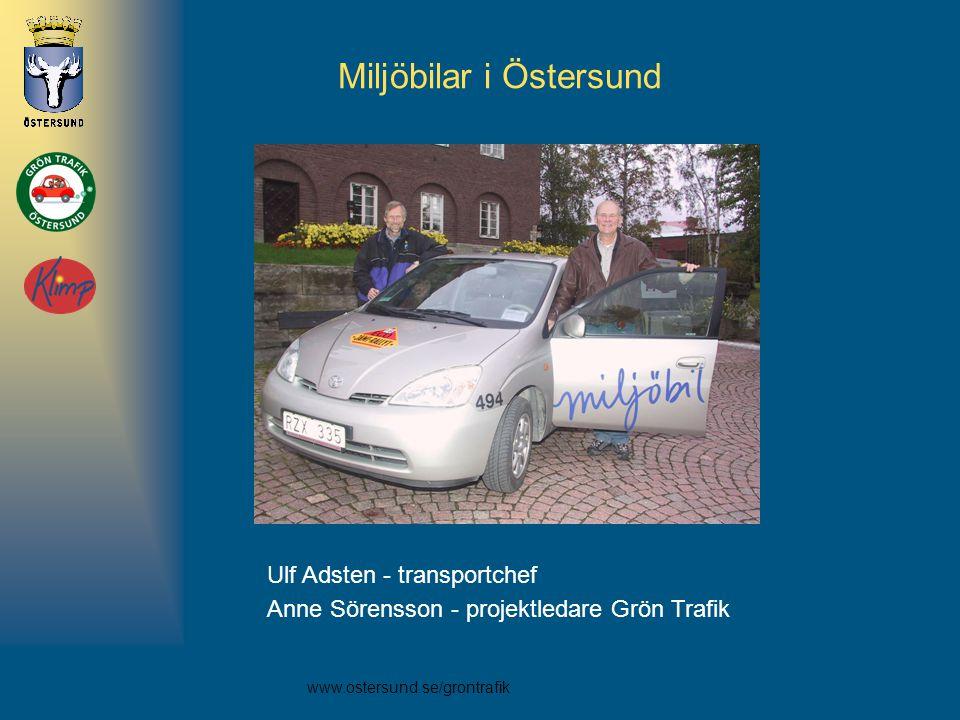 www.ostersund.se/grontrafik Miljöbilar i Östersund Ulf Adsten - transportchef Anne Sörensson - projektledare Grön Trafik