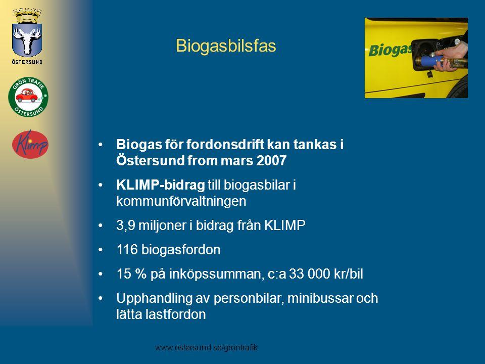 www.ostersund.se/grontrafik •Biogas för fordonsdrift kan tankas i Östersund from mars 2007 •KLIMP-bidrag till biogasbilar i kommunförvaltningen •3,9 m