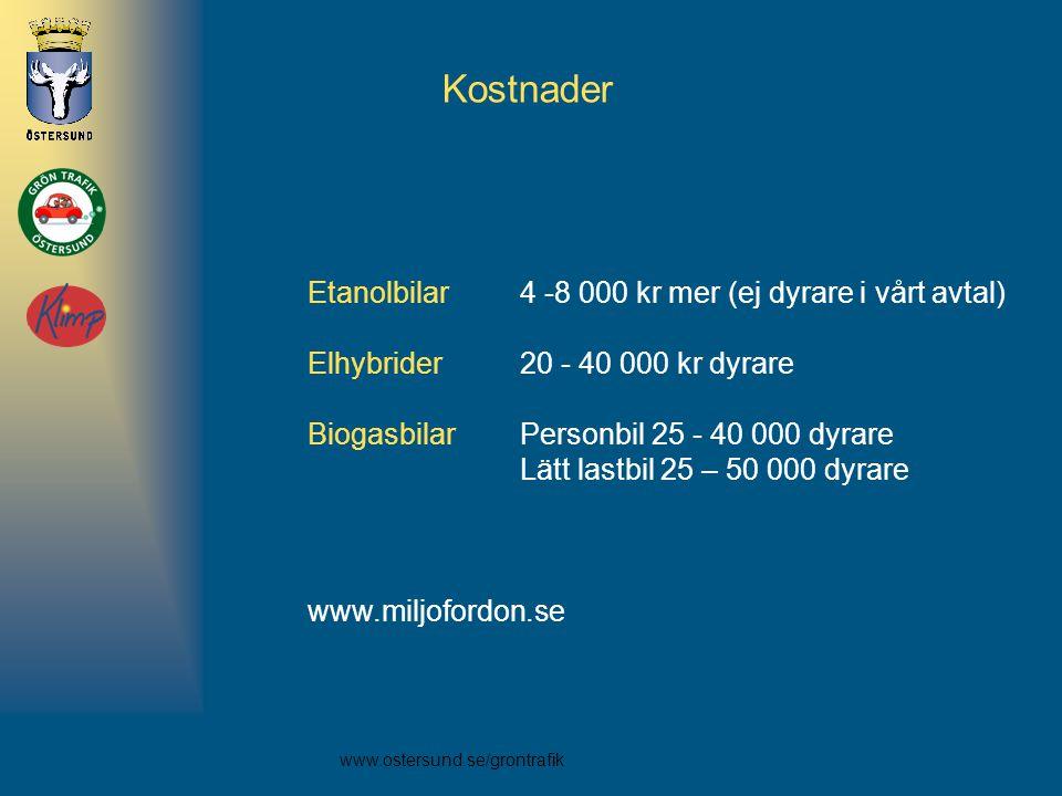 www.ostersund.se/grontrafik Kostnader Etanolbilar4 -8 000 kr mer (ej dyrare i vårt avtal) Elhybrider20 - 40 000 kr dyrare BiogasbilarPersonbil 25 - 40 000 dyrare Lätt lastbil 25 – 50 000 dyrare www.miljofordon.se