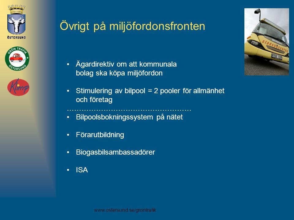 www.ostersund.se/grontrafik Övrigt på miljöfordonsfronten •Ägardirektiv om att kommunala bolag ska köpa miljöfordon •Stimulering av bilpool = 2 pooler för allmänhet och företag …………………………………………… •Bilpoolsbokningssystem på nätet •Förarutbildning •Biogasbilsambassadörer •ISA