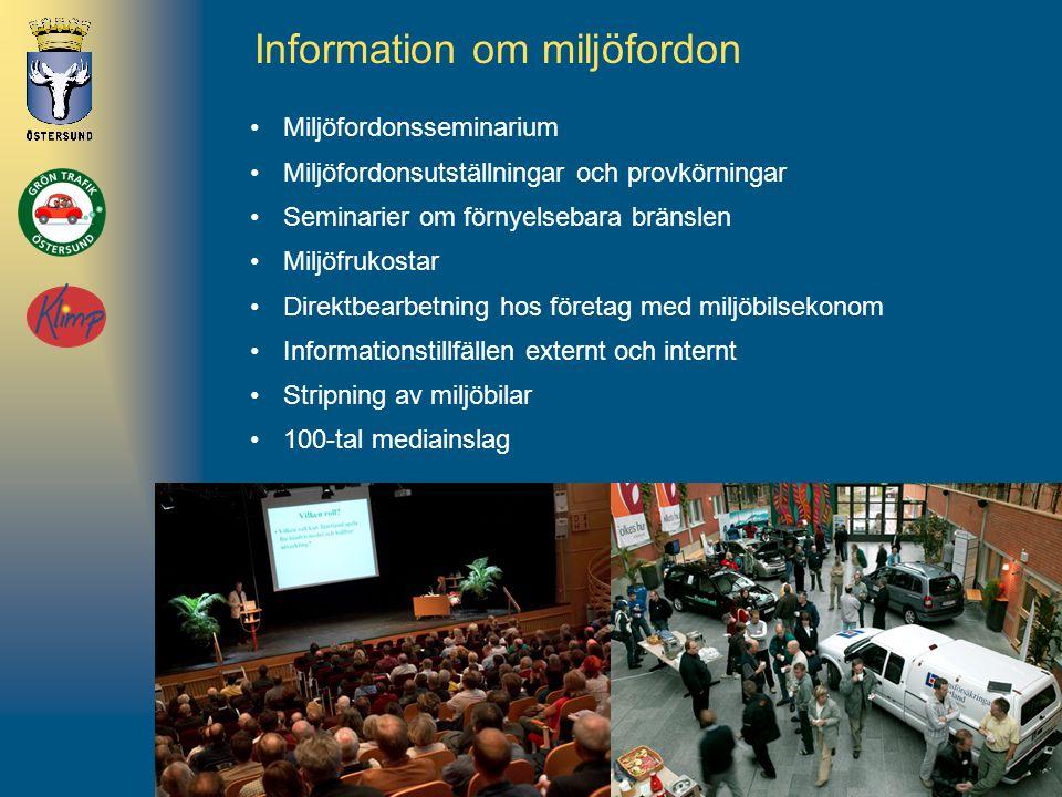 www.ostersund.se/grontrafik Information om miljöfordon •Miljöfordonsseminarium •Miljöfordonsutställningar och provkörningar •Seminarier om förnyelseba