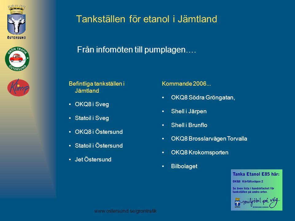 www.ostersund.se/grontrafik Tankställen för etanol i Jämtland Kommande 2006... •OKQ8 Södra Gröngatan, •Shell i Järpen •Shell i Brunflo •OKQ8 Brosslarv