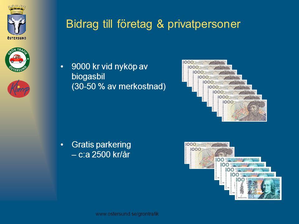 www.ostersund.se/grontrafik Bidrag till företag & privatpersoner •9000 kr vid nyköp av biogasbil (30-50 % av merkostnad) •Gratis parkering – c:a 2500 kr/år