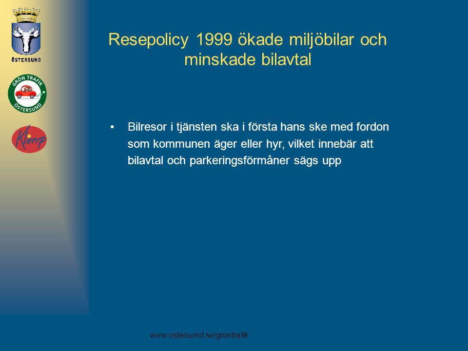www.ostersund.se/grontrafik Resepolicy 1999 ökade miljöbilar och minskade bilavtal •Bilresor i tjänsten ska i första hans ske med fordon som kommunen äger eller hyr, vilket innebär att bilavtal och parkeringsförmåner sägs upp