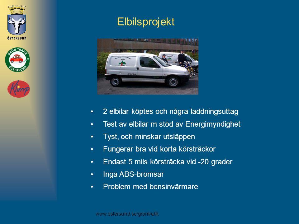 www.ostersund.se/grontrafik Elbilsprojekt •2 elbilar köptes och några laddningsuttag •Test av elbilar m stöd av Energimyndighet •Tyst, och minskar uts